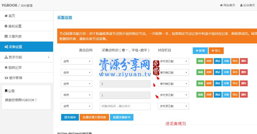价值 2588 元的 YGBOOK6.14 全自动采集小说系统+百度移动适配+wap 模板