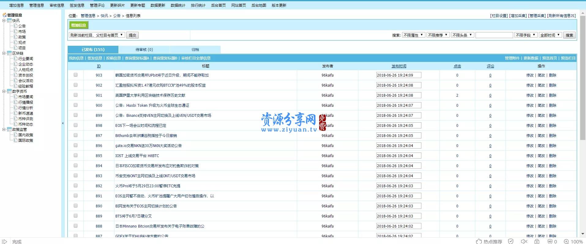 帝国 cms 区块链数字货币资讯站