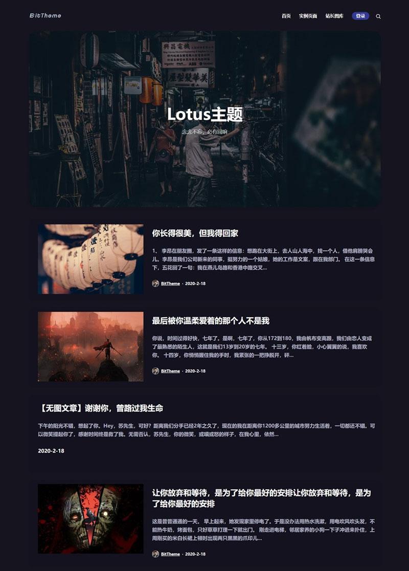 WordPress 主题 Lotus1.1 暗黑极客自媒体主题