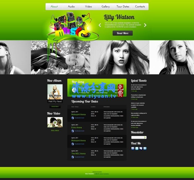 绿色的国外音乐试听网站模板下载 企业网站模板+html 音乐网站模板源码下载