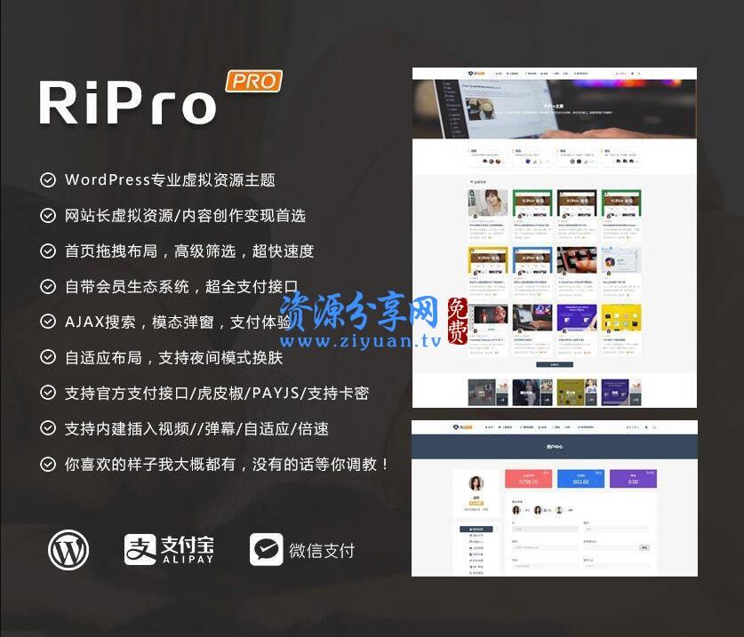 RiPro 主题 v8.6 WordPress 主题+无限制版+新增讯虎支付+自带会员生态系统+自适应布局