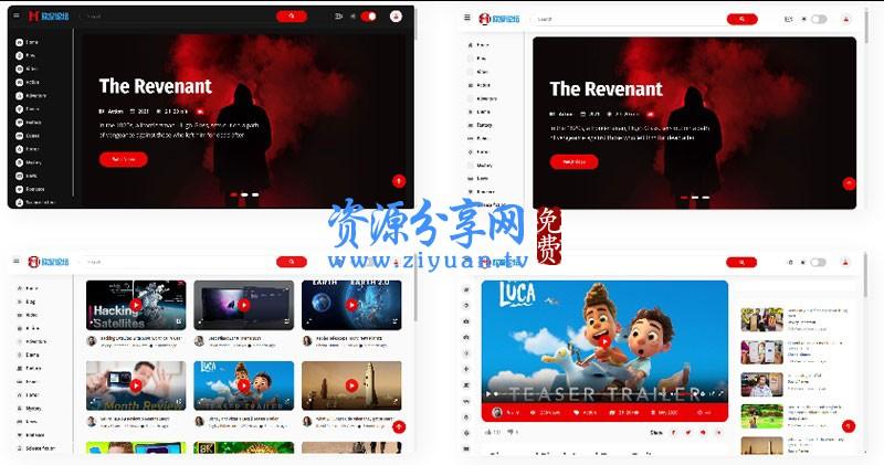 社交媒体电影视频 HTML5 模板 在线电影网站静态模板